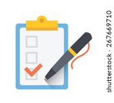 form with pen and checklist... | Shutterstock .eps vector #267669710
