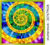spiral colurful stained glass... | Shutterstock .eps vector #267679628