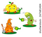 funny gardeners with a watering ... | Shutterstock .eps vector #267681404