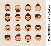 hipster man fashion icon set. | Shutterstock .eps vector #267681623