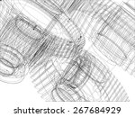 wire frame gears with shafts.... | Shutterstock .eps vector #267684929
