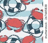 seamless pattern with crabs.... | Shutterstock .eps vector #267685838