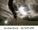 picture of a large tornado... | Shutterstock . vector #267691490