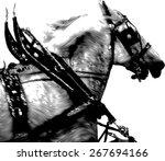 Horse Pulling Cart   Vintage...