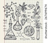 hand drawn science beautiful... | Shutterstock .eps vector #267699674