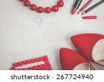 still life of fashion woman.... | Shutterstock . vector #267724940