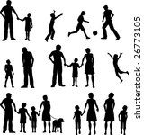family silhouettes bitmap | Shutterstock . vector #26773105