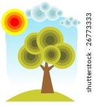 cartoon tree and sun on a blue... | Shutterstock .eps vector #26773333