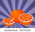 orange fruit  whole  halved ... | Shutterstock .eps vector #26774134