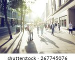 people in bokeh  street of... | Shutterstock . vector #267745076