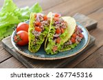 mexican tacos with meat  onion... | Shutterstock . vector #267745316