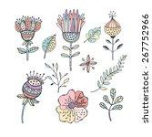 set of floral elements | Shutterstock .eps vector #267752966