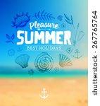 set of summer elements  blurred ... | Shutterstock .eps vector #267765764