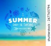 set of summer elements  blurred ... | Shutterstock .eps vector #267765794