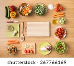 creative vegetarian cooking at... | Shutterstock . vector #267766169