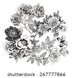 beautiful romantic floral... | Shutterstock . vector #267777866