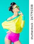 expressive fashion model posing ... | Shutterstock . vector #267792338