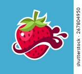 strawberry logo icon with... | Shutterstock .eps vector #267804950