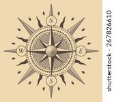 oldstyle wind rose compass | Shutterstock . vector #267826610