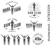 set of vintage run club labels  ... | Shutterstock . vector #267833204