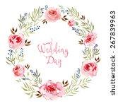 watercolor flowers frame. card... | Shutterstock .eps vector #267839963