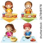 children eating food on the