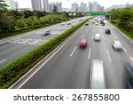 fast blurry car on highway | Shutterstock . vector #267855800