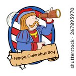 columbus day cartoon man with... | Shutterstock .eps vector #267895970
