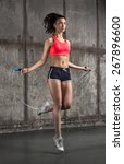 photo of fit adult girl in air   Shutterstock . vector #267896600