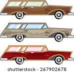 wood trim station wagon vector | Shutterstock .eps vector #267902678