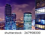 view of a city skyline at dusk... | Shutterstock . vector #267908330