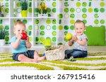 two children a boy and a girl... | Shutterstock . vector #267915416