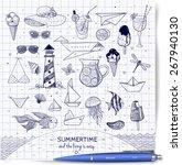 pen sketches of summer elements.... | Shutterstock .eps vector #267940130