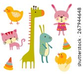 cute baby animals colorful... | Shutterstock .eps vector #267944648
