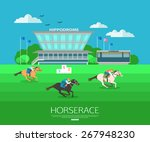 Stock vector horse race background with place for text flat style design vector illustration 267948230