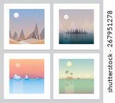 Постер, плакат: four contemporary minimalistic landscape