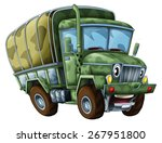 Cartoon military truck - caricature - illustration for the children