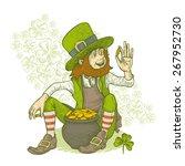 leprechaun sitting with a pot... | Shutterstock .eps vector #267952730