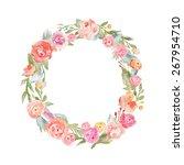 floral alphabet monogram letter ... | Shutterstock . vector #267954710