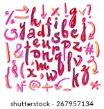 vector hand drawn letters.... | Shutterstock .eps vector #267957134