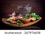 thai cuisine nam prik or chili... | Shutterstock . vector #267976658