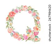 watercolor flower alphabet... | Shutterstock . vector #267984620