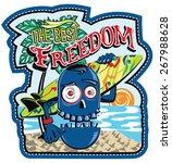 surfer monster skull.applique. | Shutterstock .eps vector #267988628