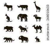 Stock vector  black vector icons of wild animals on a white background 268010633