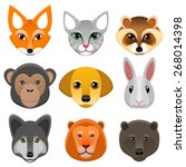 vector set of faces of animals | Shutterstock .eps vector #268014398