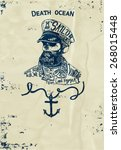 Постер, плакат: Vintage naval Skull Emblem Undead