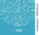 fitness icons background design | Shutterstock .eps vector #268026116