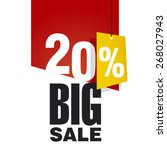 big sale 20 percent off red... | Shutterstock .eps vector #268027943
