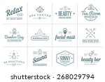 set of vector spa beauty yoga... | Shutterstock .eps vector #268029794