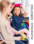 kids buying supplies  in... | Shutterstock . vector #268037363